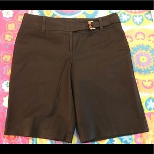 Ann Taylor Brown Cotton Shorts with Bamboo Buckle